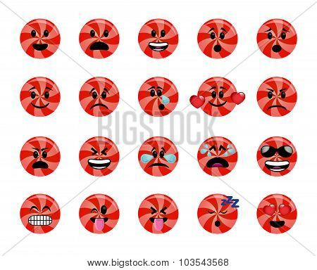 Set Of Red Lollipop Icons