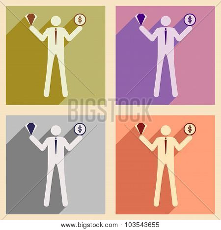 Modern flat icons vector collection with shadow businessman dollar diamond