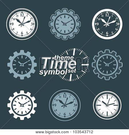 Set Of Vector Engineering Components - Cog Wheels. Time Management Theme, 3D Stylized Clocks