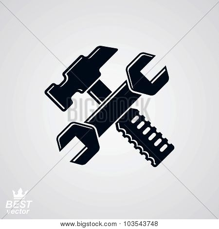 Simple Vector Wrench And Hammer Crossed. Graphic Reparation Utensil, Industry Theme Icon, Isolated