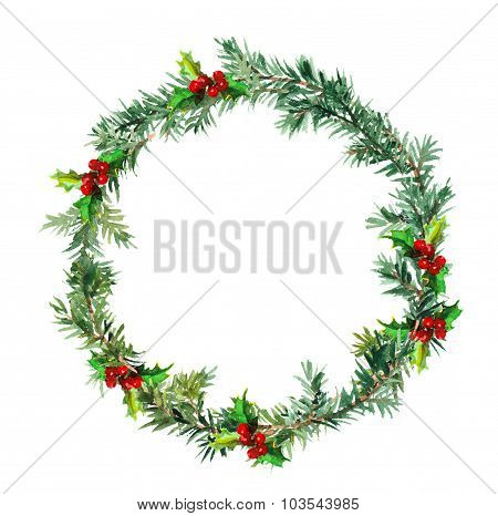 New year wreath - fir tree and mistletoe. Watercolor