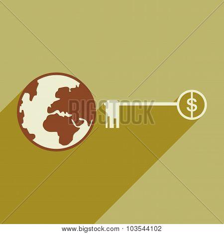 Flat design modern vector illustration icon Globe key money