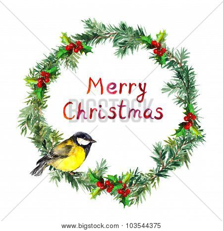 New year wreath - fir, mistletoe and tit bird. Watercolor