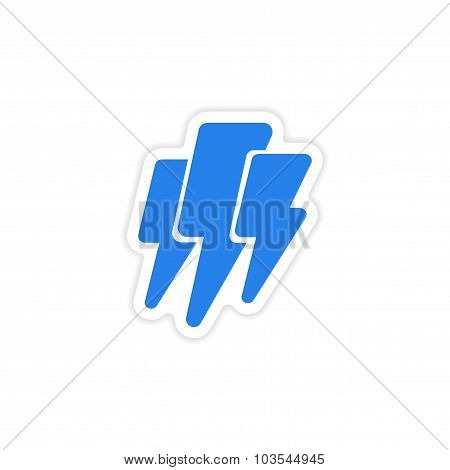 icon sticker realistic design on paper lightning
