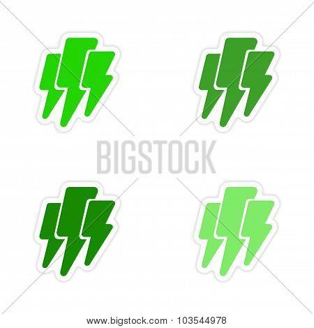 assembly realistic sticker design on paper lightning