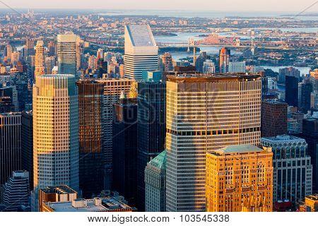 New York City Skyscrapers At Sunset - Midtown Manhattan Skyline