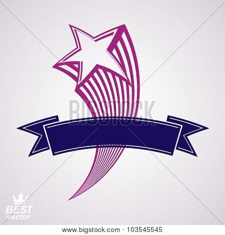 Comet, 3D Flying Star With Decorative Ribbon. Military Stylized Icon. Vector Festive Graphic element