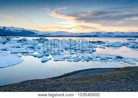 Scenic View Of Icebergs In Glacier Lagoon, Iceland