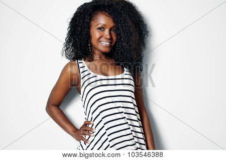 Pretty Black Woman Wearing Sailor Style Top