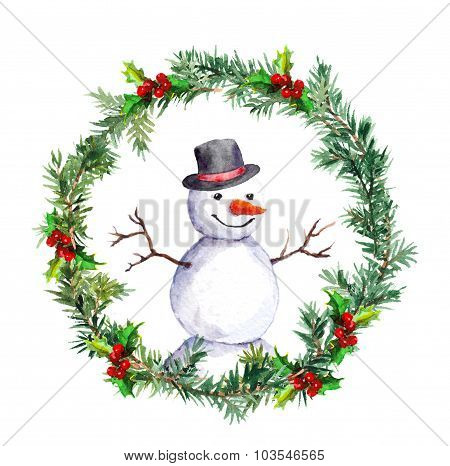 Snowman in christmas wreath with fir tree branches. Watercolor
