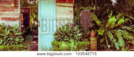 Wood Door In The Garden, Vintage Toning