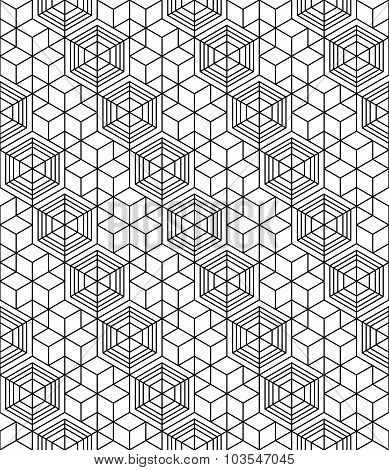 Geometric Seamless Pattern, Endless Black And White Vector Regular Background. Abstract Covering