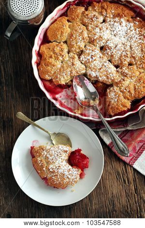 Stewed Apple, Plum And Coconut Cobbler