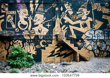 Stylized Mural By And Unknown Artist, Marred By Graffiti