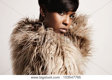 Woman Wearing Jacket From A Faux Fur