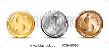 Gold, silver and copper coins.