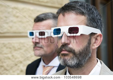 Two Businessmen With 3D Glasses
