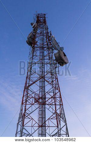 Communication Tower On Bluesky Background
