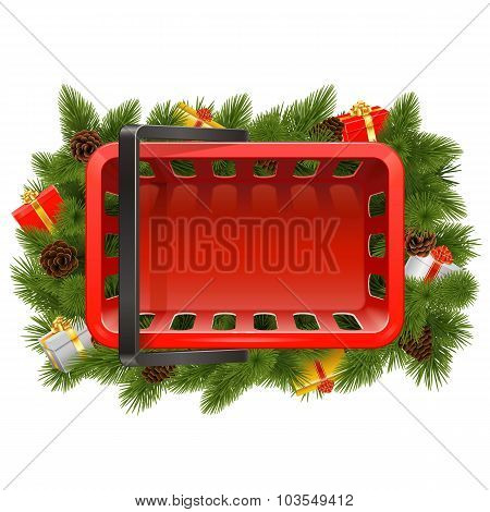 Vector Shopping Basket With Christmas Decorations