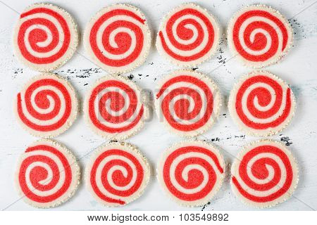 Red And White Pinwheel Cookies