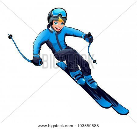 Young boy is skiing. Vector cartoon isolated character.