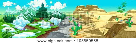 View on mountains and desert. Vector cartoon illustration. On the vector file, you can extract the isolated landscapes: mountains, or desert, because they have been projected to be also separated.