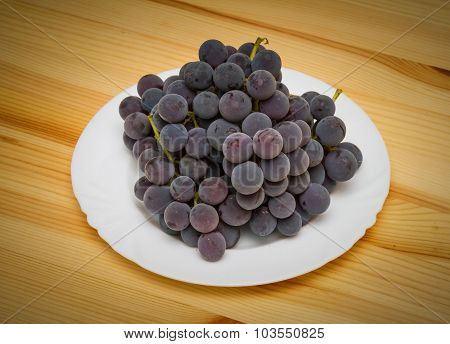 Fresh, Natural Black Grapes Isolated On A\table.