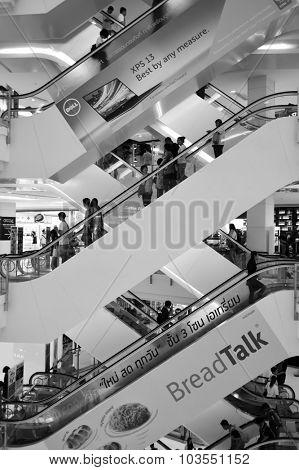 BANGKOK, THAILAND - JUNE 20, 2015: shopping center interior. Shopping malls and department stores of Bangkok become shopping Mecca for shopaholics
