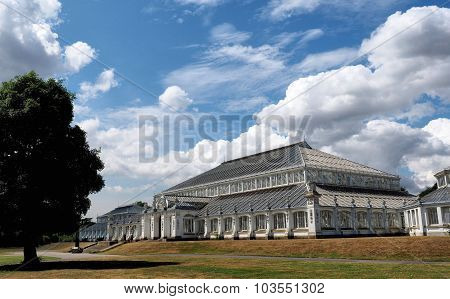 Glasshouse at Kew Gardens London on a sunny day