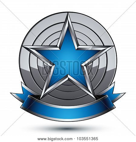 Renown Vector Silver Star With Wavy Ribbon Placed On A Round Surface, 3D Design element