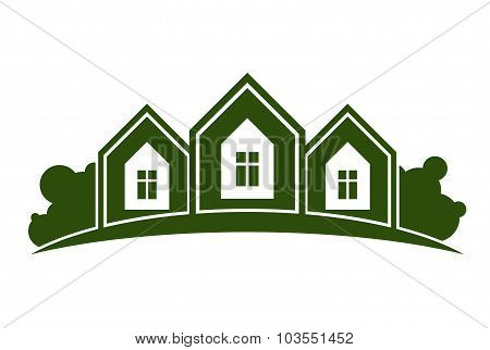 Abstract Illustration Of Country Houses With Horizon Line. Village Theme Picture, Green House.