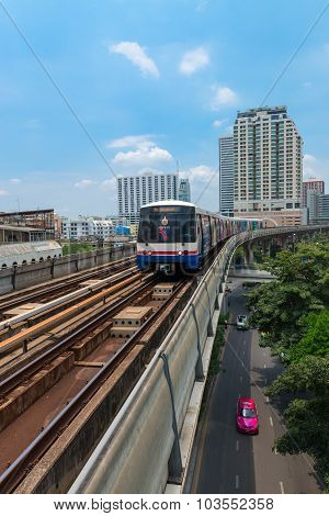 Metro Skytrain Runs Through The City.