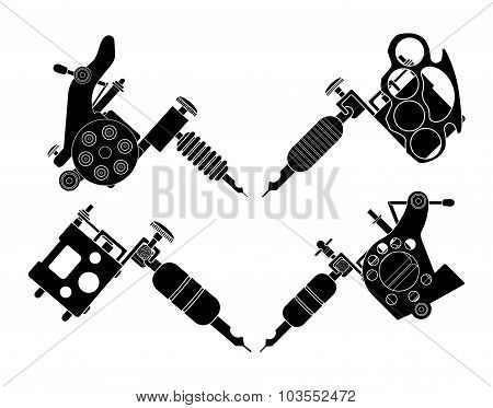 Set of 4 different style tattoo machines. Silhouettes
