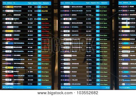 Digital Schedule Board Announcing Flight Departures At Suvarnabhumi Airport In Bangkok, Thailand.
