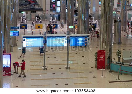 Overlooking View Of A Sparkling, Clean Concourse Area, Approaching The Customs Counters At Dubai Int