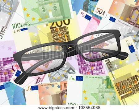 Reading Glasses On Euros Background