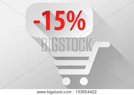 Shopping Sale 15% Widget And Icon 3D Illustration Flat Design