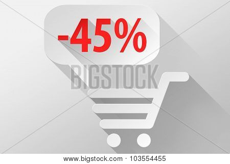 Shopping Sale 45% Widget And Icon 3D Illustration Flat Design