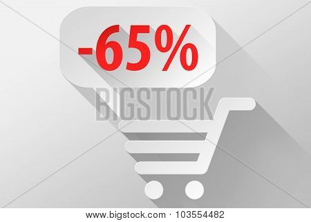 Shopping Sale 65% Widget And Icon 3D Illustration Flat Design