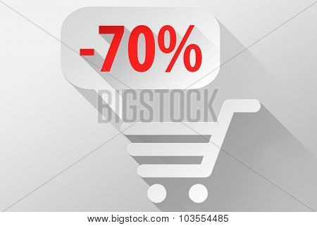 Shopping Sale 70% Widget And Icon 3D Illustration Flat Design