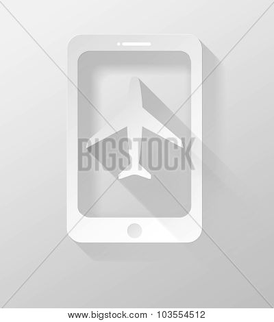 Smartphone Or Tablet Airplane Icon And Widget 3D Illustration Flat Design