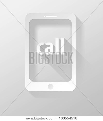 Smartphone Or Tablet Call Icon And Widget 3D Illustration Flat Design