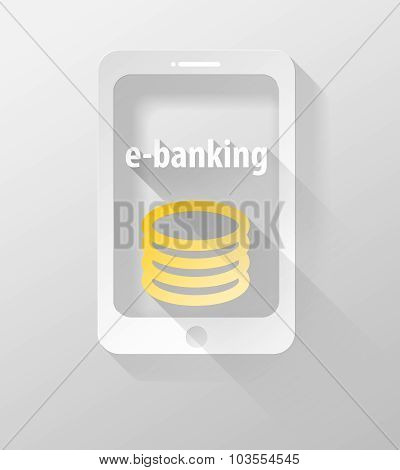 Smartphone Or Tablet E-banking Icon And Widget 3D Illustration Flat Design