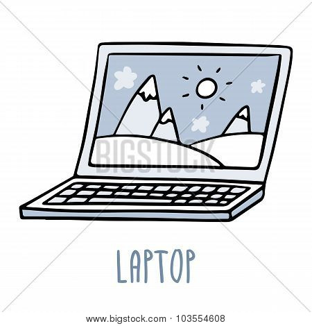 Laptop. Cute Doodle Sketch Isolated On White