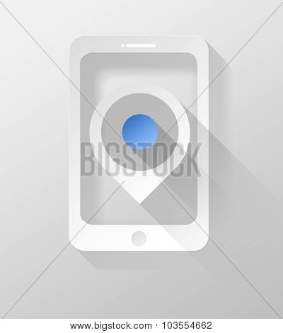 Smartphone Or Tablet With Gps Pin Icon And Widget 3D Illustration Flat Design