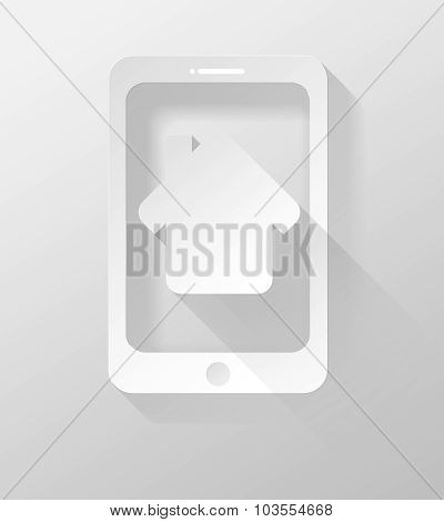 Smartphone Or Tablet With Home Icon And Widget 3D Illustration Flat Design