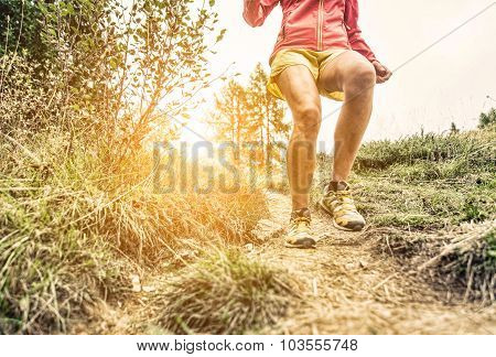 Woman Making Workout And Running On The Hills. Concept About Sport And Fitness