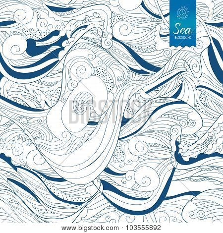 Seamless Blue Waves Hand Drawing Tape