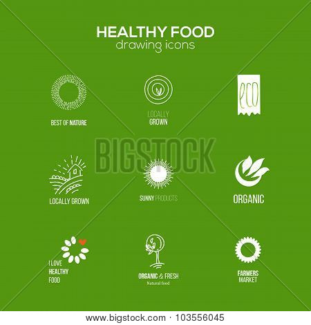 Healthy Food logo Set At Green Background