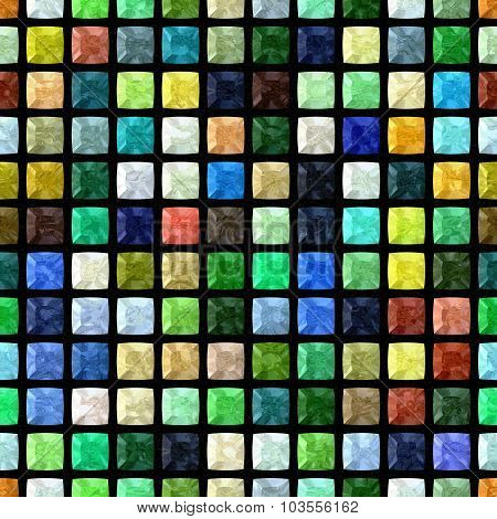Full Color Regular Mosaic Seamless Pattern Texture On Black